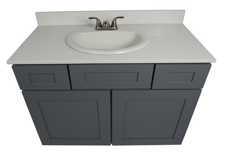 Everyday Cabinets 42 Inch Bathroom Vanity Single Sink Cabinet in Shaker Gray  with Soft Close Drawers & Doors