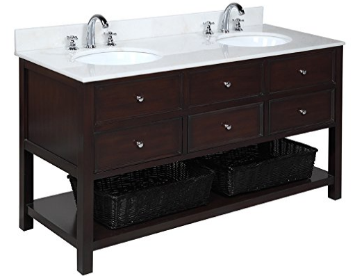 kitchen bath collection kbcd60brwt new yorker double sink bathroom vanity with marble countertop