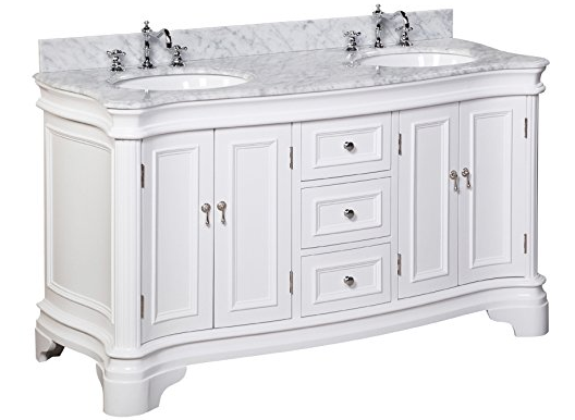 Kitchen Bath Collection KBC A602WTCARR Katherine Double Sink Bathroom Vanity  With Marble Countertop