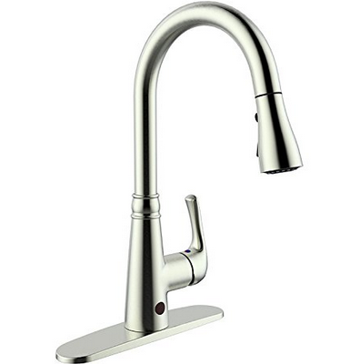 boharers touchless kitchen sink faucet with react touch free technology