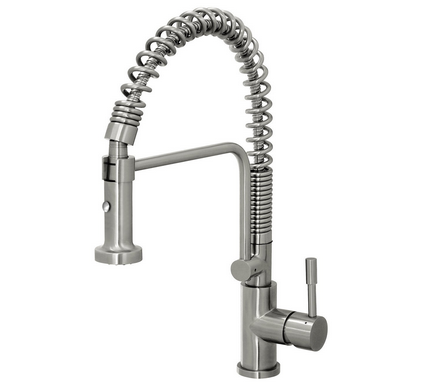Geyser GF51 S Geyser Stainless Steel Commercial Style Coiled Spring Kitchen  Pull Out Faucet
