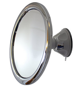 fog free shower mirror by mirror on a rope with locking suction mount and ball joint swivel