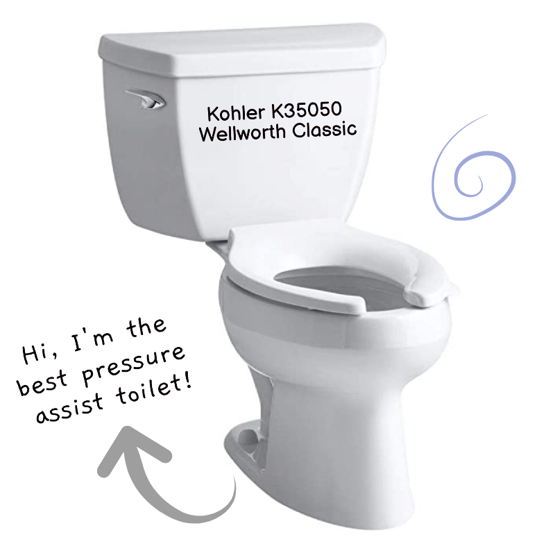 Kohler K35050 Wellworth Classic Best Pressure Assist Toilet