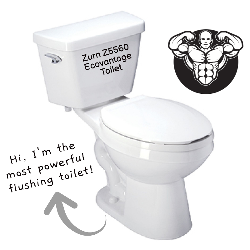 Zurn Z5560 Ecovantage Most Powerful Flushing Toilet